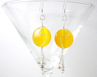 Golden Yellow Fiber Optic Coins and Sterling Silver Earrings