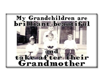 Fridge Magnet kitchen decor Grandchildren take after Grandmother humor funny vintage image grandmama love