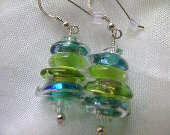 Rainforest Green Lampwork Disc Standing Stones Earrings