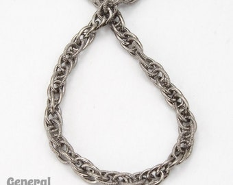 3mm Gunmetal Textured and Plain Rope Chain #CCC217