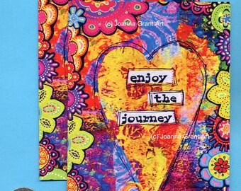 ENJOY THE JOURNEY Mixed Media Art Magnet