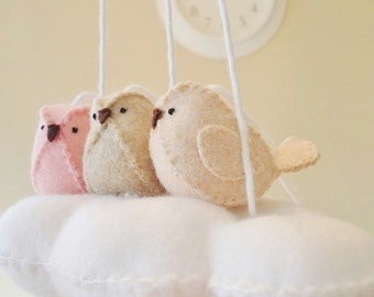 Baby mobile, nursery decoration in peach, pink and beige - cloud mobile - bird mobile