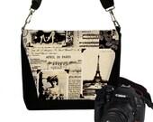 Padded Camera Bag Dslr Camera Bag Slr  Camera Bag Purse  - DELUXE April in Paris Eiffel Tower MTO