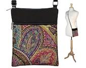 Pretty Boho Sling Bag, Shoulder Bag, Small CrossBody Purse Bag, Cross Body Travel Purse, purple, teal, red, black RTS