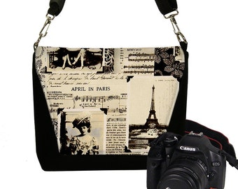 Padded Camera Bag Dslr Camera Bag Slr  Camera Bag Purse  - DELUXE April in Paris Eiffel Tower RTS