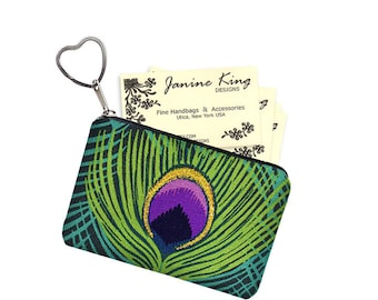 Business Card Holder Peacock Feather Fabric Pouch, Key Fob, Small Zipper Bag, Coin Purse Key Chain, teal green purple black MTO