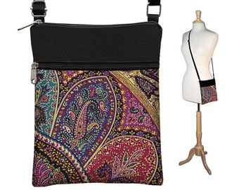 Pretty Boho Sling Bag, Shoulder Bag, Small CrossBody Purse Bag, Cross Body Travel Purse, purple, teal, red, black RTS