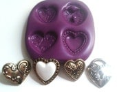 Small Hearts Silicone Mold Mould 15 - 20mm -  Kawaii Polymer Clay Sugarpaste Fimo Sugarpaste Cake Decorate Icing Fondant