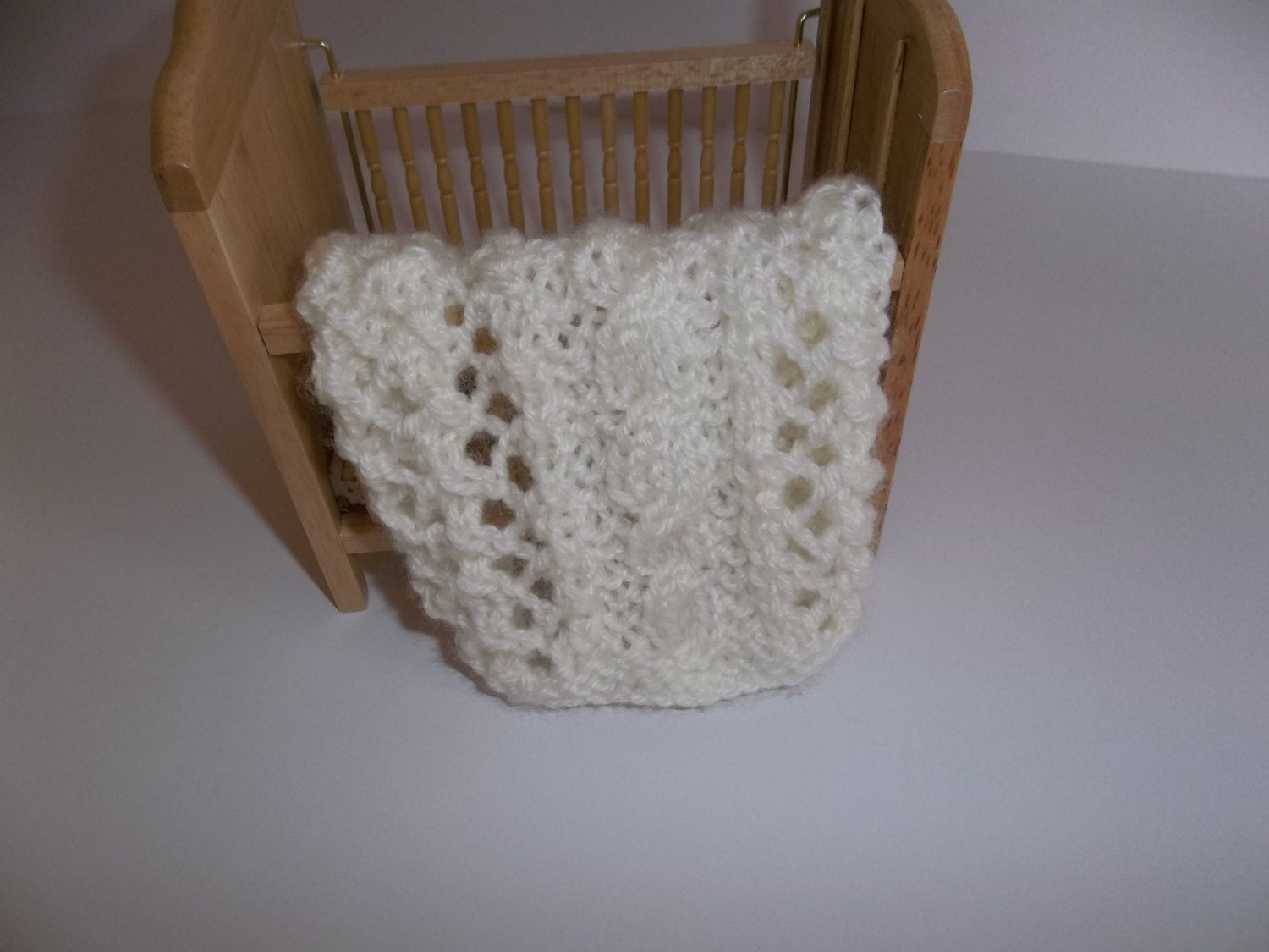 Antique White/Ivory Hand Knit Miniature Crib Blanket 1/12
