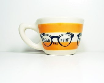 "12oz cup with stripes & a retro ""read the fine print"" print - Made to Order / Pick Your Colour"
