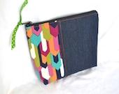 Zipper Pouch Make up Cosmetic Purse Organizer Pouch - Denim with Pink Aqua Orange Geometric
