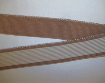 Vintage 1-1/8 inch Chocolate Brown Tan Gripper ELASTIC Waistband Corduroy Face Sold by the Yard