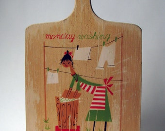 Vintage - Cutting Board - Monday Washing - Wooden - Laundry - Kitchen Decor