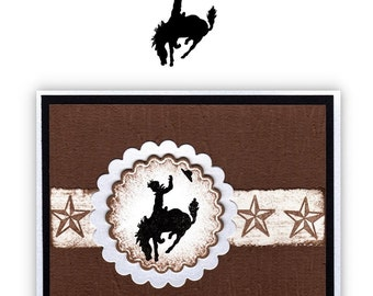 BUCKING BRONCO small, unmounted rubber stamp, No.1