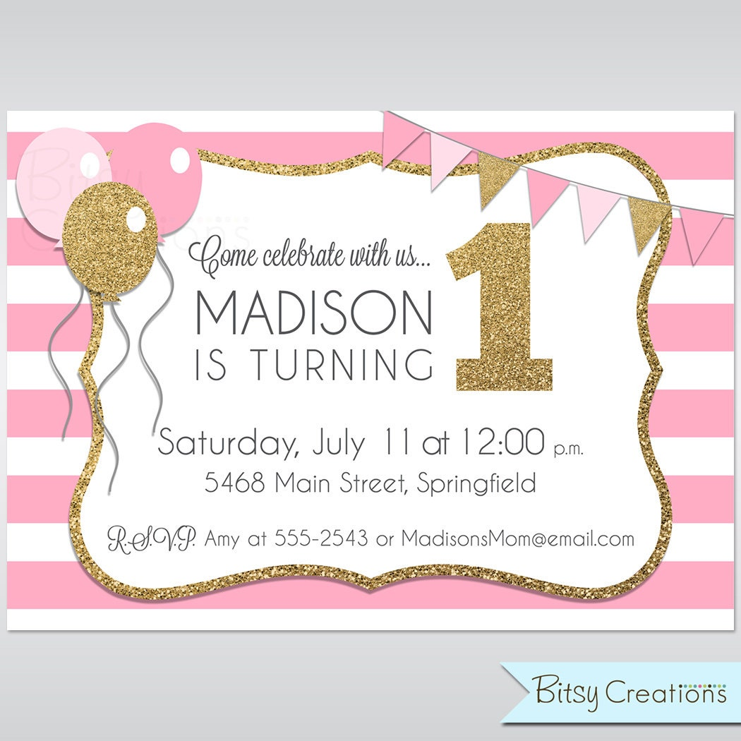 Pink And Gold Glitter Printable Birthday Invitation