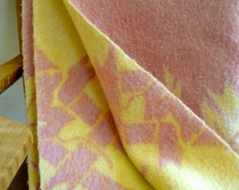 Vintage Wool Blanket Yellow Pink Napped Fluffy & Thick / Wool of the West