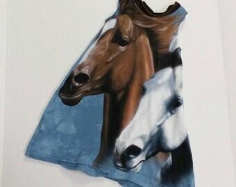 Girls Sleeveless Dress Horses Size 3/4 Recycled Clothing