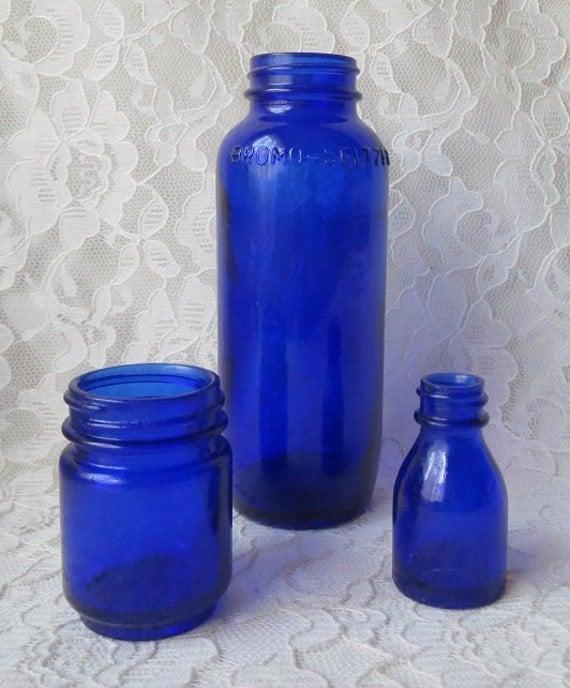 Vintage Vicks VapoRub Bottles & Bromo Seltzer in Cobalt Blue Glass Collection of Three