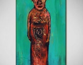 easter island MOAI turquoise original painting - Ready to Hang - 20x10 - Fine Art by BenWill