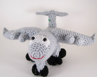 c 17 aircraft ,  Crocheted Amigurumi Military c 17 aircraft , stuffed airplane toy  MADE TO ORDER