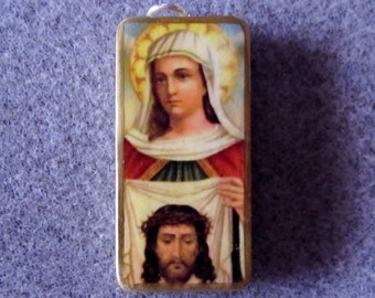 St. Veronica  Recycled Domino Necklace Patron Laundry Workers Photographers V6