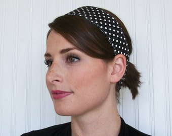 Black and White Polka Dot Headband  -  Womens Fabric Headband - Hair Wrap
