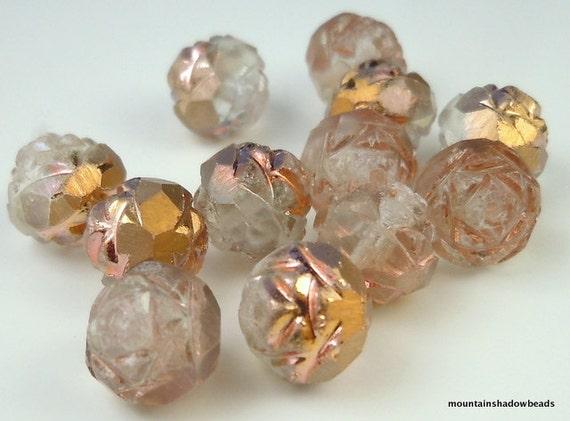 12 8mm Rosebud Matte Apollo Gold Czech Glass Beads Firepolished