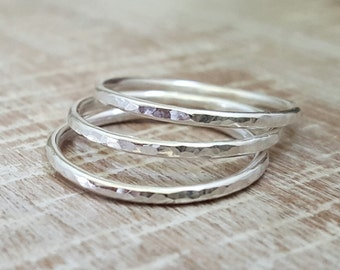 Sterling Silver Hammered Ring,Sterling Silver Stackable Rings, Handmade Rings, Stack Rings