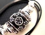 REDUCED Price, 2 Antiqued Silver, Black Kashmiri Beads, 24mm, Large Barrel, Black Polymer Clay Jewelry Beads, Custom Made KS04