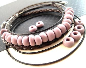 LIGHT Purple Antique Venetian Glass Beads, 7mm, Purple Matte Venetian Beads, LIMITED, 0.8 Ounce, Purple Crow, Purple Pony Beads CV14