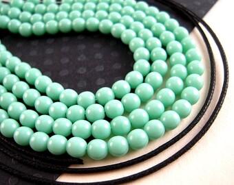 100 Light Green Czech Glass Beads, 4mm, Opaque Green, Round Beads, Pastel Green, Pale Green Czech Beads B25