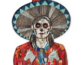 Sugar Skull Cowgirl Metal Wall Sculpture