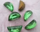 15 pcs. vintage glass half moon peridot green foiled pointed back rhinestones 12x6mm - f4808