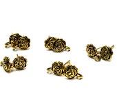 Antiqued Gold Rose Post Earrings- pierced earring components- jewelry findings- earring findings- jewelry supplies- ear posts- earring parts