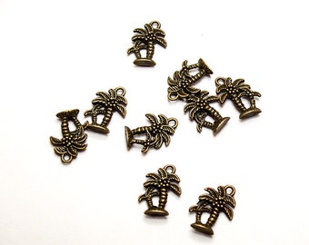 Antiqued Brass Palm Tree Charms- lead free charms- lead free pendants- palm tree charms- palm tree pendants- jewelry findings- quality