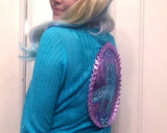 Aqua Blue & Neon Tiger Applique Cardigan XS/S