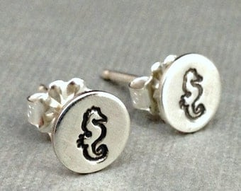 Stud Earrings Silver , Seahorse Jewelry , Small Seahorse Earrings , Nautical Earrings