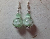 Soft Milky Mint Green with White Floral Glass Earrings on silver