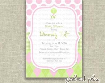 Baby Girl Shower Invitation Invite Golf Pink Green Argyle Polka Dot Printable - by girlsatplay girls at play