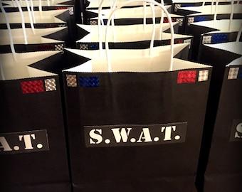PDF: SWAT Party Tags or Stickers - Black - Digital File DIY Printable