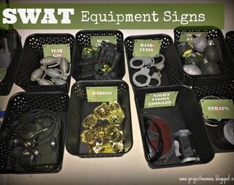 PDF: Printable SWAT Equipment Signs - Set of 20 - Green - Digital File DIY