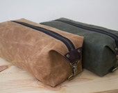 Gift for Men, Men's Dopp Kit, Men's Toiletry Bag, Travel Bag for Men with Inside Pocket - Water Resistant Lining, Waxed Canvas - Handmade
