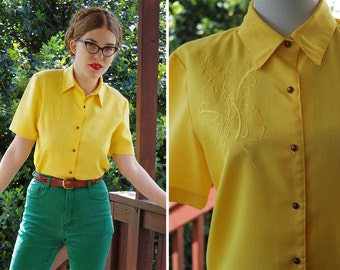 SUNRISE 1970's Vintage Bright Yellow Blouse with Floral Embroidery // Button Down Shirt // by SUPREME // size Small Med