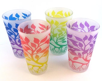 Tree of Life 16oz Pint Glasses - Set of 4 - Frosted Style - Etched and Painted Glassware - Ready to Ship