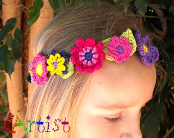 Flower wreath headband - crochet hairband