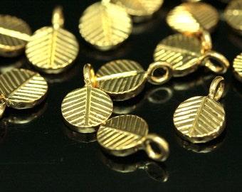 KG-125 thai karen hill tribe handmade silver 4 gold vermeil leaf charm