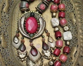 OOAK, Hand Crafted, Clay and Stone, Pink and Green, Statement Necklace, Bohemian Chic, Faceted Pink Agate centre, Full length, Beaded