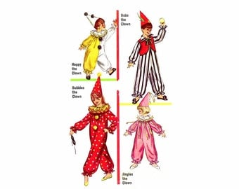 1960s Boys and Girls Clown Costumes Simplicity 6198 Vintage Sewing Pattern Size 8 - 10 UNCUT