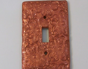 Butterfly swirls and flowers metallic shiney copper  single toggle light switch cover