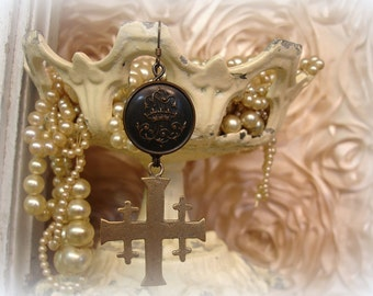 semplice earring from the singles bar . one of a kind vintage button with crown + bronze jerusalem cross